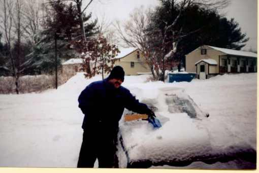 that same car, inundated with wintertime Maine snow during snowiest winter on record.