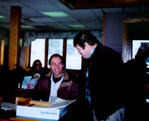 Gary works with term limits petition coordinator and  Maine tate legislator John Michael in Portland in Dec 1995